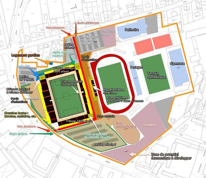 Schéma de principe de l'aménagement du complexe sportif Venise Verte