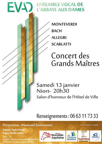 Concert des Grands Maîtres par l'Ensemble vocal de l'Abbaye aux Dames