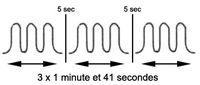 variation du signal sur trois cycles successifs d'une durée de 1 minute et 41 secondes.