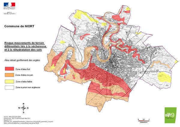 carte des mouvements de terrain à Niort