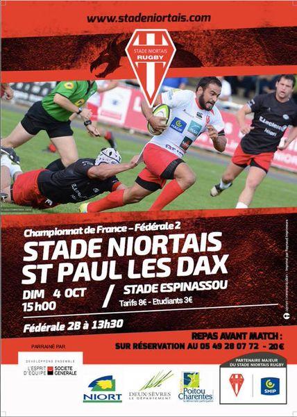 Rugby : Stade Niortais - St Paul Les Dax