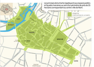 """Plan de la zone concernée par la """"Charte de qualité urbaine"""""""