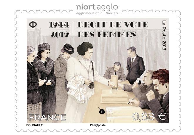 Vente anticipée du timbre-poste Droit de vote des femmes 1944-2019