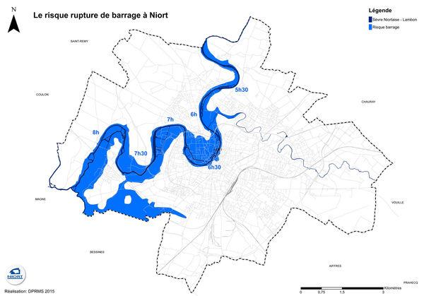 Simulation d'une rupture du barrage de la Touche-Poupard