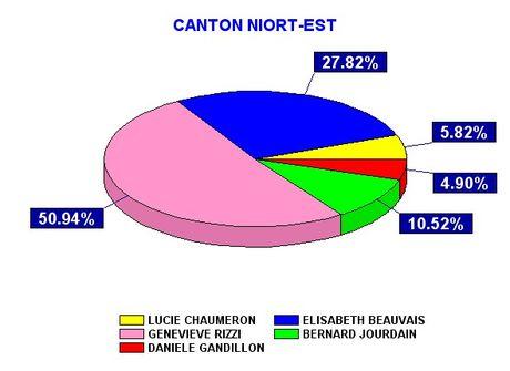 Représentation Graphique des résultats des Élections Cantonales de 2004 - Canton Est