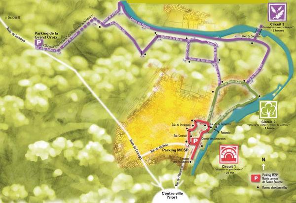Plan des sentiers de Sainte Pezenne