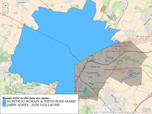 Carte des résultats du 1er tour des élections départementales à Niort