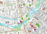 Plan de localisation des repères de crue à Niort